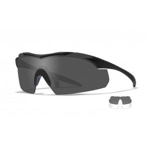 "Wiley X - ""WX VAPOR"" Clear, Smoke Grey Lens in Gloss Black Frame - Protective Eyewear"