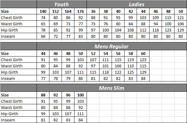 TSR Shooting Jacket Sizing Chart